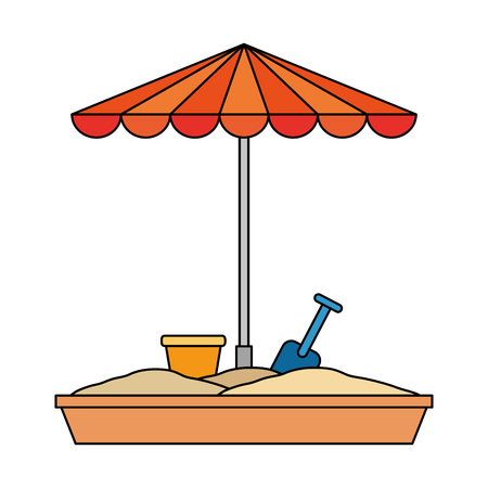 sand game park with umbrella vector illustration design