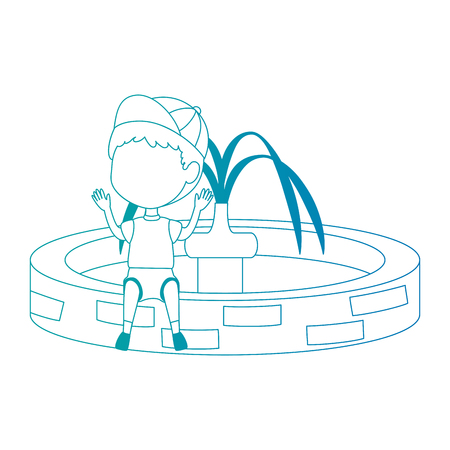 boy sitting in park sink water vector illustration design