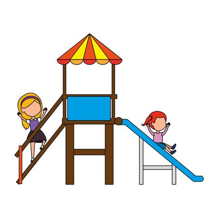 girl playing in tower and slide vector illustration design Stock Illustratie