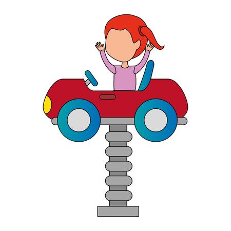 little girl in cart toy with springvector illustration design Foto de archivo - 102404220