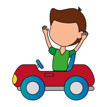 boy in little cart toy icon vector illustration design Foto de archivo - 102404227