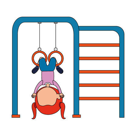 girl playing in park playground rings hanging vector illustration design Banque d'images - 102404266