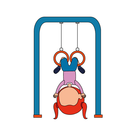 girl playing in park playground rings hanging vector illustration design Illustration