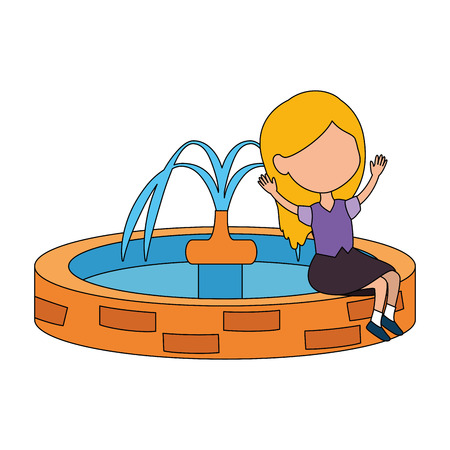 girl sitting in park sink vector illustration design Illustration