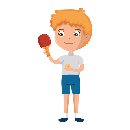 little boy with tennis table racket character vector illustration design Banque d'images - 102404277