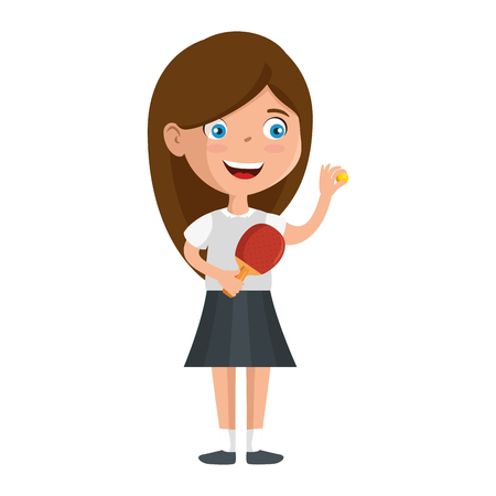 little girl playing tennis table character vector illustration design