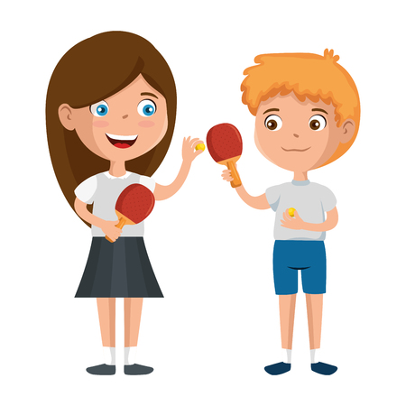 little kids couple playing tennis table characters vector illustration design