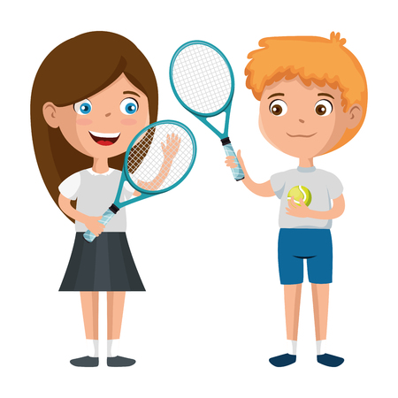 little kids couple playing tennis characters vector illustration design Stock fotó - 102403008