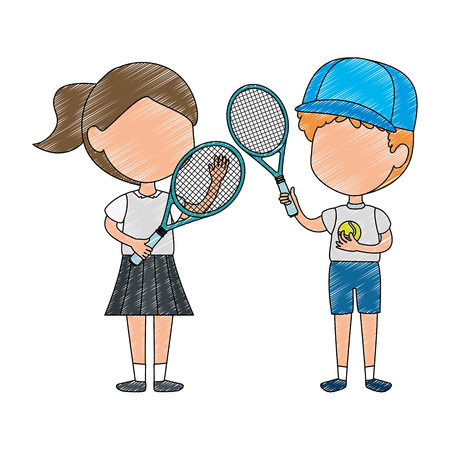 little kids couple playing tennis characters vector illustration design