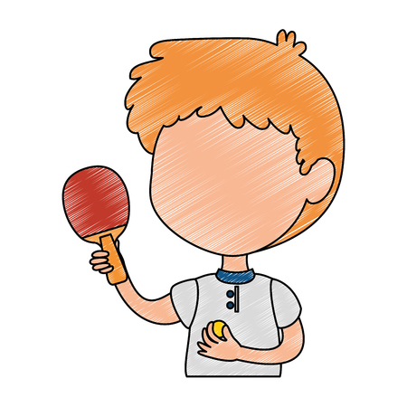 little boy with tennis table racket character vector illustration design