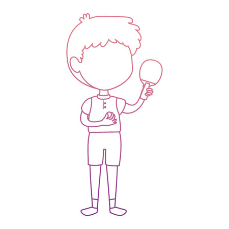 little boy with ping pong racket character vector illustration design