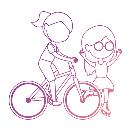 little girls friends riding bycicle and skates characters vector illustration design Illustration