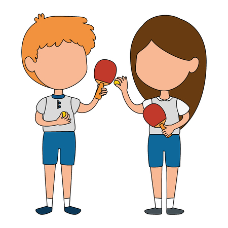 little kids couple playing ping pong characters vector illustration design Çizim