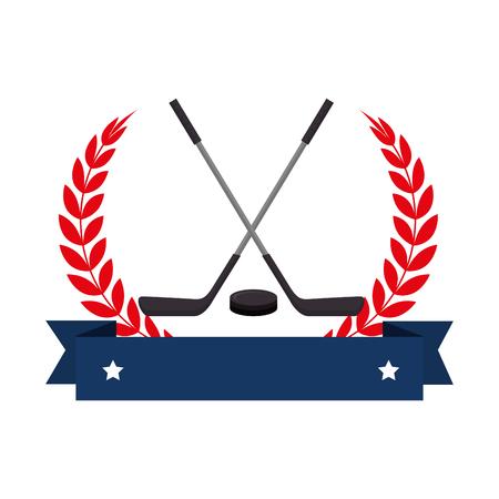 hockey sticks crossed seal vector illustration design