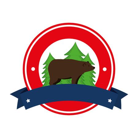 bear grizzly canadian seal vector illustration design Иллюстрация