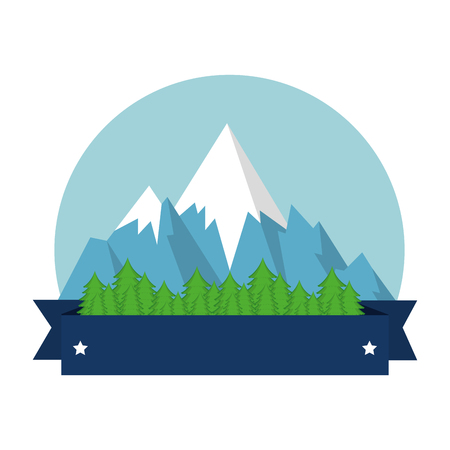 snow mountains canadian seal vector illustration design