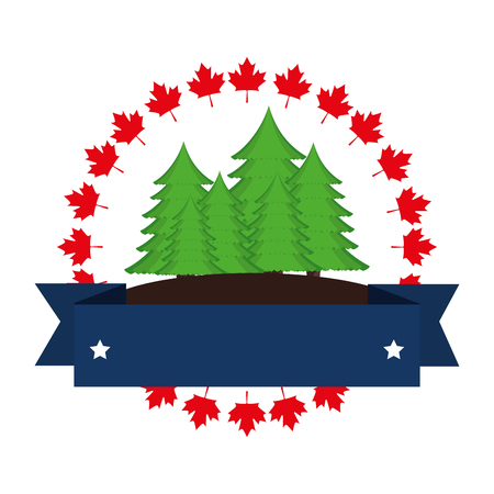 pine forest canadian emblem vector illustration design Фото со стока - 102396087