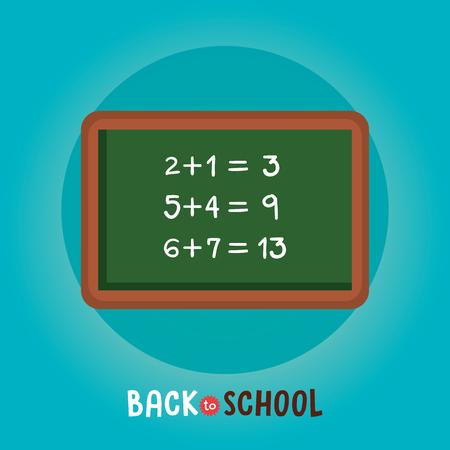 chalkboard class math back to school vector illustration design