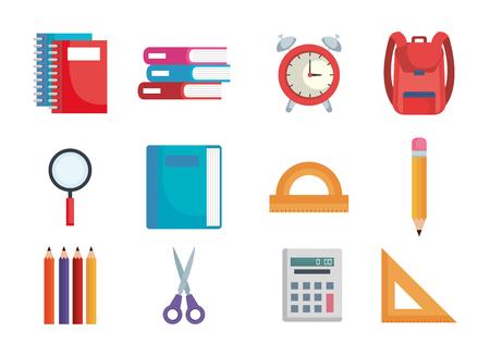 torna a scuola impostare icone illustrazione vettoriale design Vettoriali