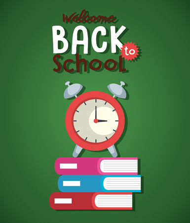 pile textbook and alarm clock back to school vector illustration design