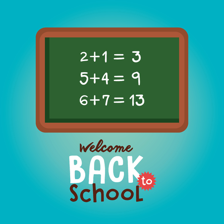 chalkboard class math back to school vector illustration design