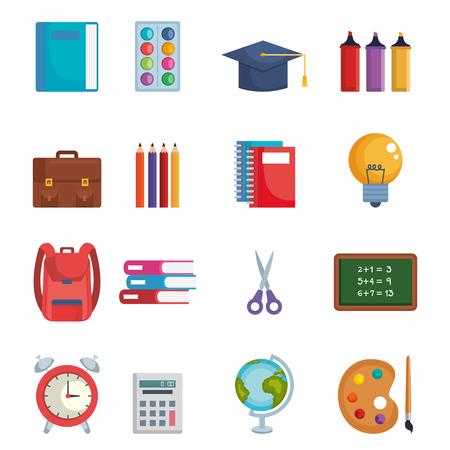 back to school set icons vector illustration design Illustration