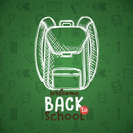 school bag drawing in chalkboard vector illustration design Illustration