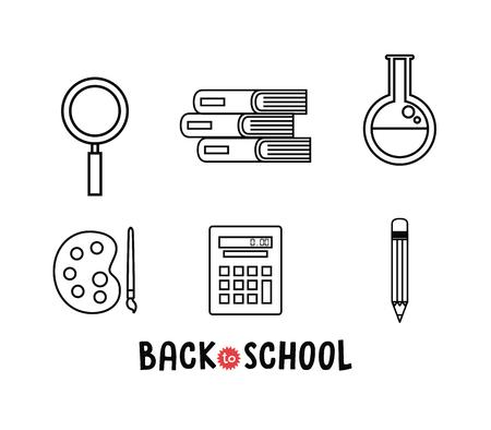 back to school set icons vector illustration design  イラスト・ベクター素材