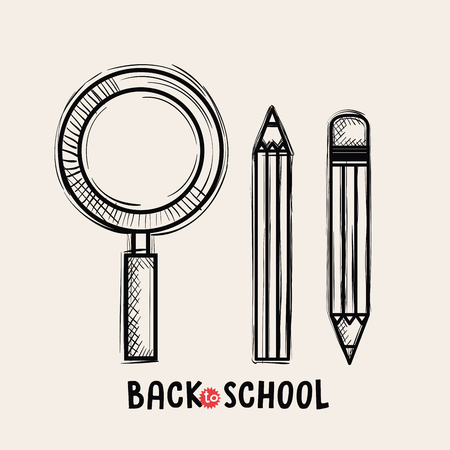 magnifying glass and pencils schools supplies drawing vector illustration design