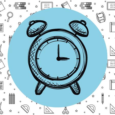 alarm clock with school supplies vector illustration design  イラスト・ベクター素材