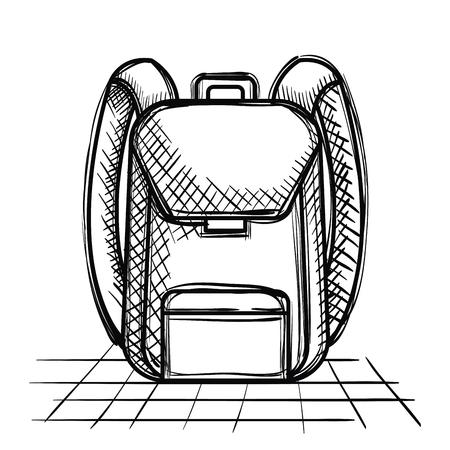 school bag supply drawing vector illustration design