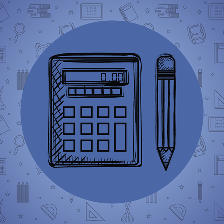 calculator math with pencil drawing vector illustration design Illustration