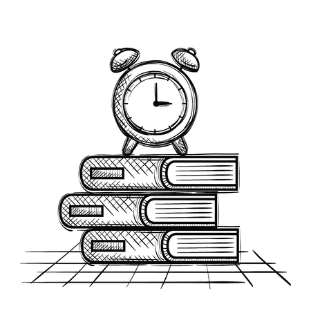 pile books and alarm clock school supplies drawing vector illustration design