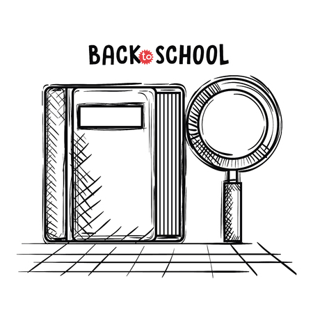 magnifying glass and book school supplies drawing vector illustration design