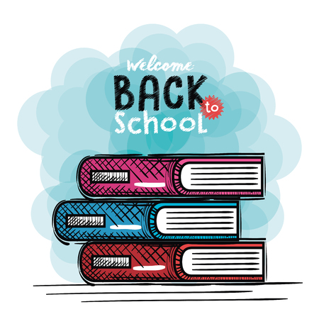 books back to school drawing vector illustration design