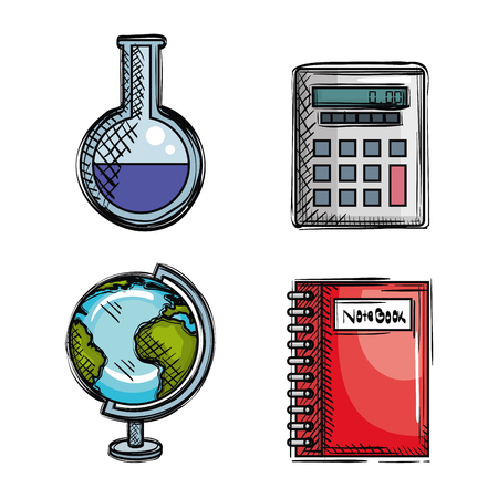 back to school set icons drawings vector illustration design