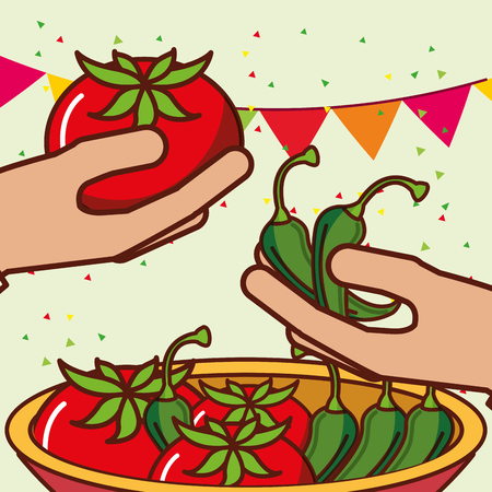 hands with bowl tomatoes and chili peppers mexican food vector illustration