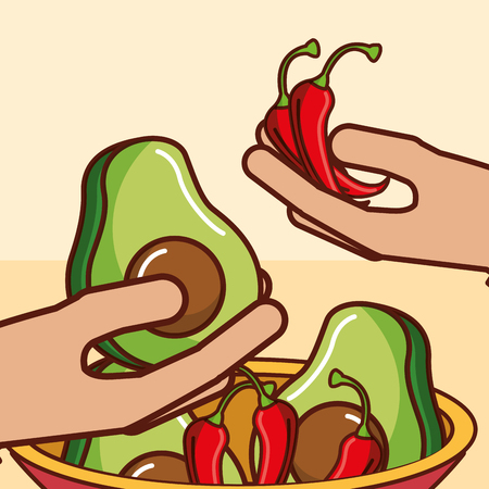 hands with avocado bell peppers chili pepper mexican food in bowl vector illustration Illusztráció