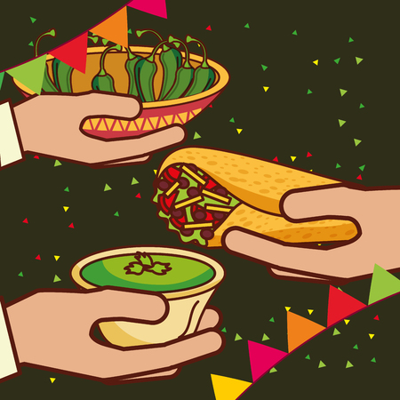 hands with burrito guacamole and chili peppers mexican food vector illustration