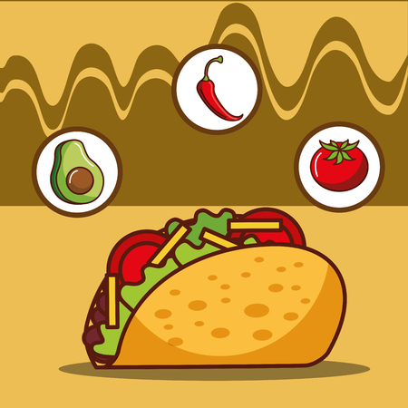 delicious taco avocado tomato and chili pepper vector illustration