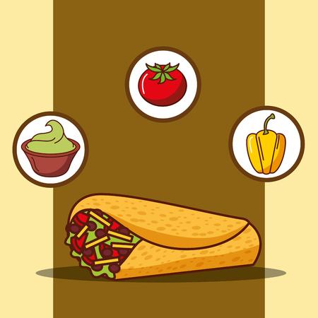 delicious burrito guacamole tomato and bell pepper vector illustration
