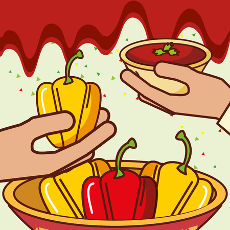 hands with bell peppers and sauce mexican food vector illustration