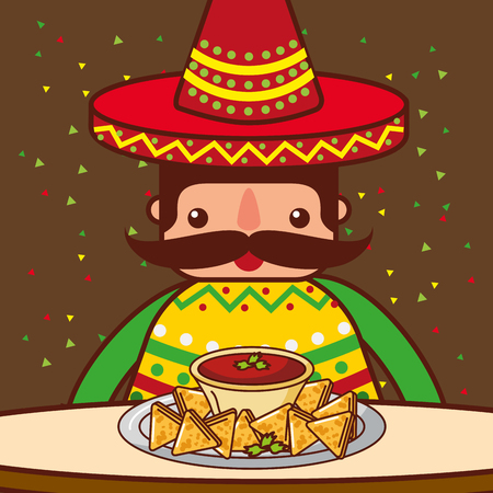 character eating at table nachos sauce mexican food vector illustration