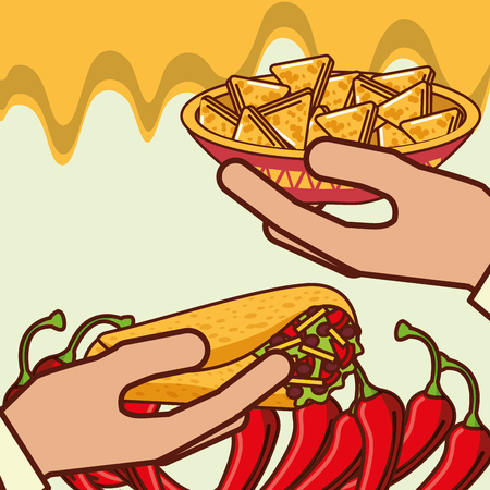 hands with burrito and nachos in bowl mexican food vector illustration