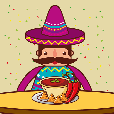 character restaurant menu nachos and chili pepper mexican food vector illustration