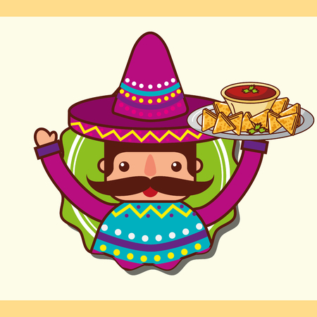 character man holding nachos and sauce mexican food vector illustration