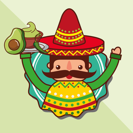 character man holding avocado and guacamole mexican food vector illustration