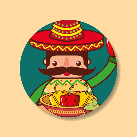 character man holding bell peppers mexican food vector illustration