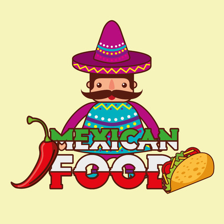 character man in traditional clothes mexican food vector illustration Illustration