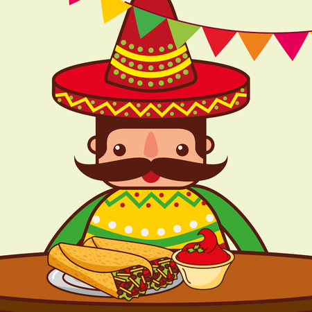 character eating at table burritos chili pepper mexican food vector illustration